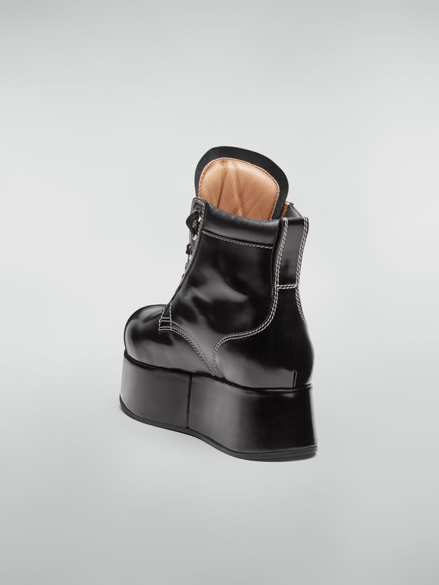 Marni Lace-up bootie in polished leather Woman - 3