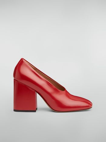 Marni Rising upper pump in red polished leather  Woman f