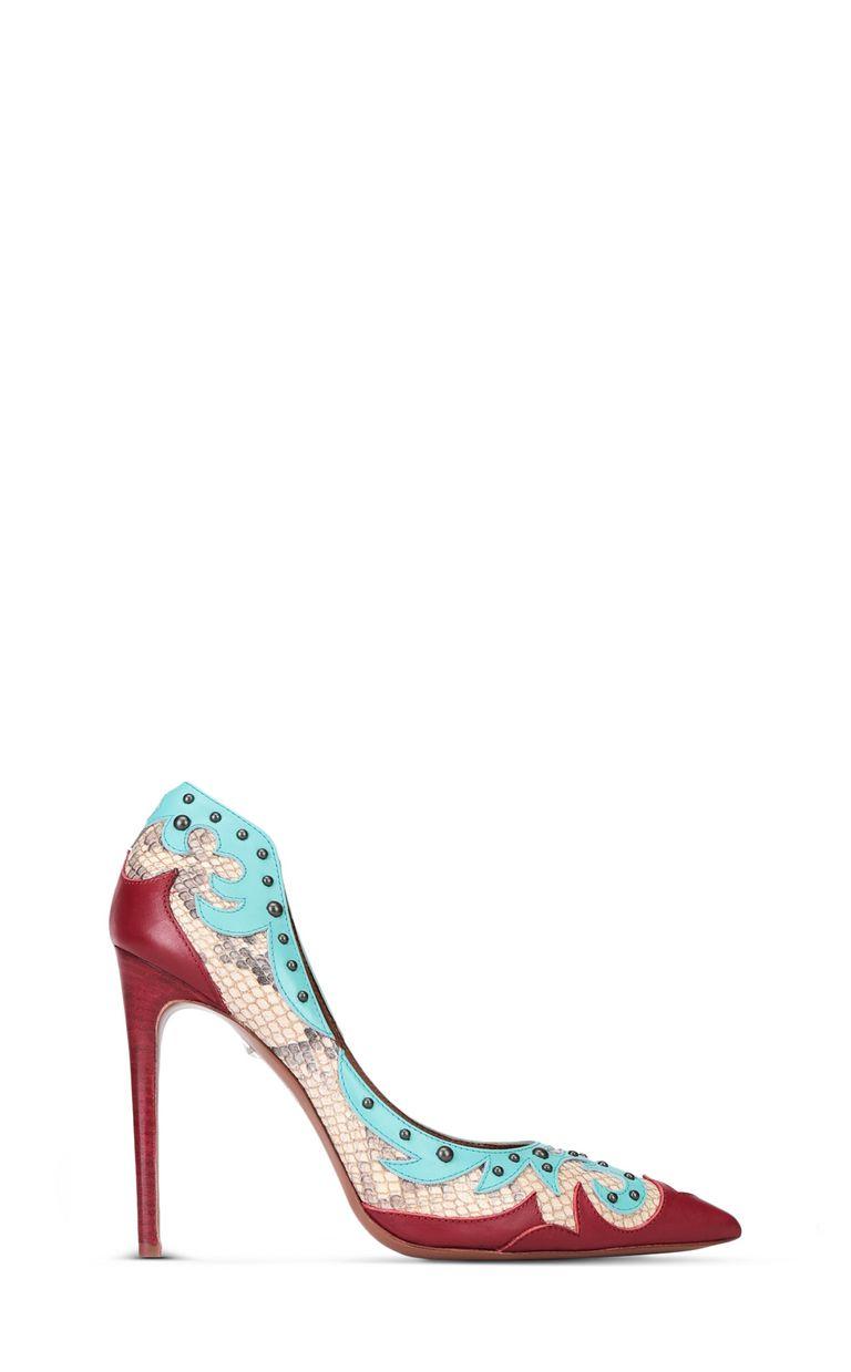 JUST CAVALLI Python-pattern studded court shoe Pump Woman f