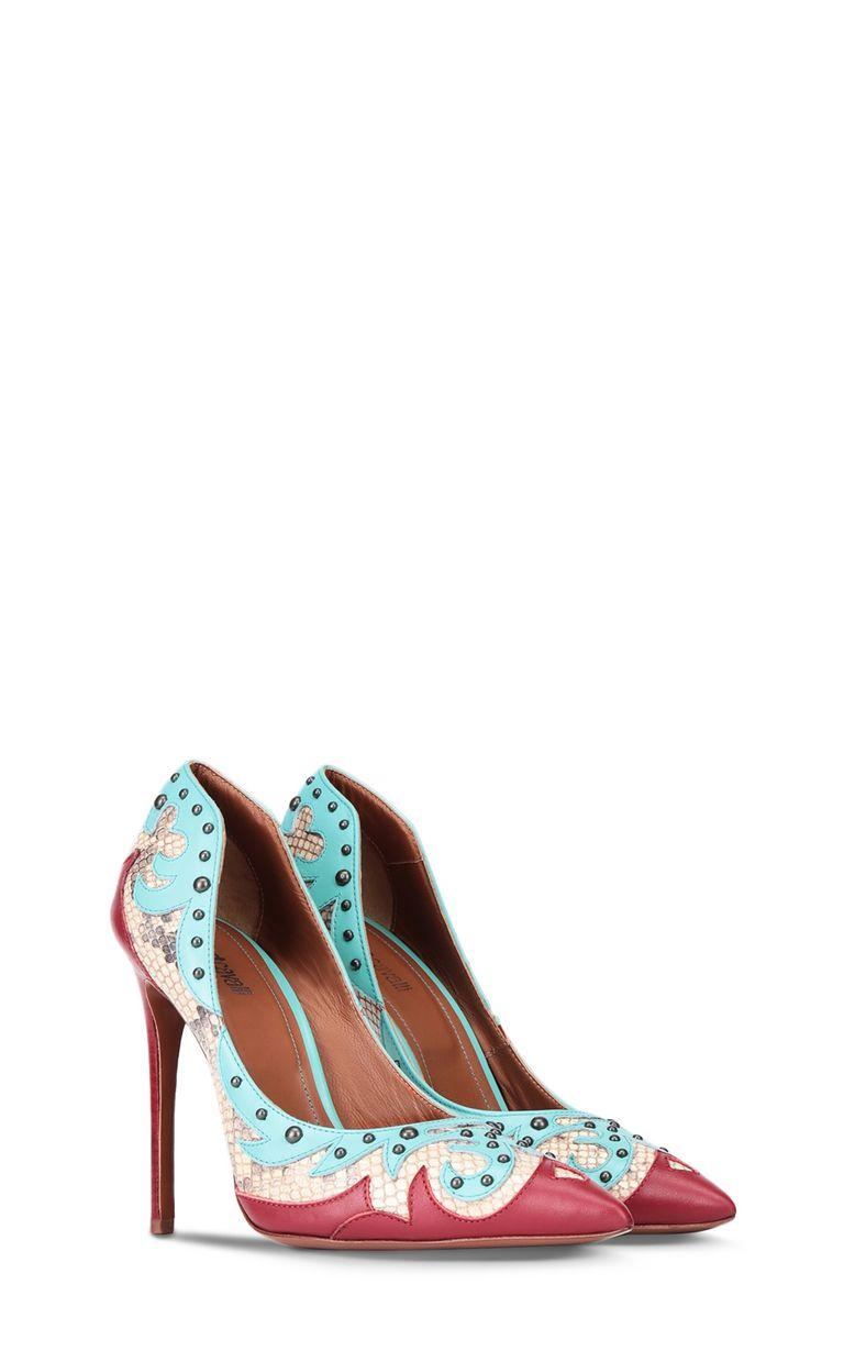 JUST CAVALLI Python-pattern studded court shoe Pump Woman r