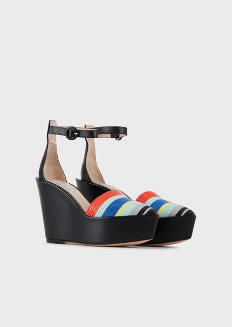 Leather wedge heel sandal