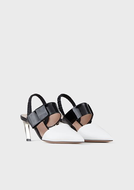 Leather pumps with asymmetric heel