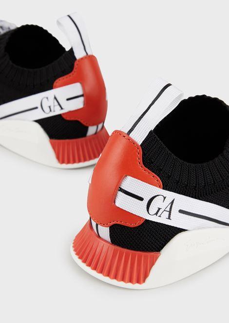 Lace up sneakers in tessuto con dettagli in pelle