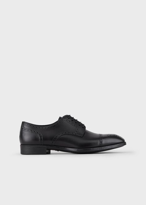 Brushed leather Derby brogues with perforations