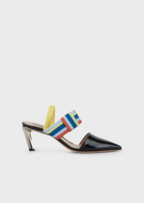 Patent leather slingbacks with multicolour ribbon