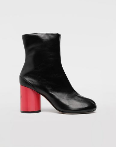 SHOES Tabi hologram leather boots Black