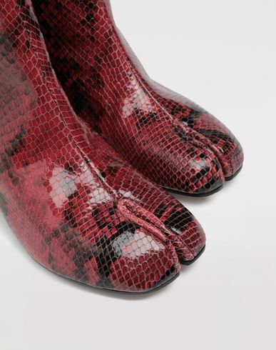 SHOES Tabi python-effect calfskin boots Maroon