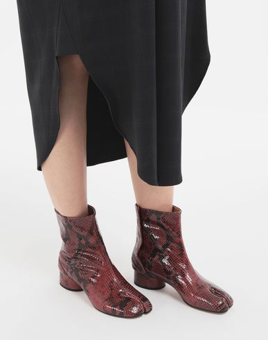 MAISON MARGIELA Tabi boots & Ankle boots Woman Tabi python-effect calfskin boots r