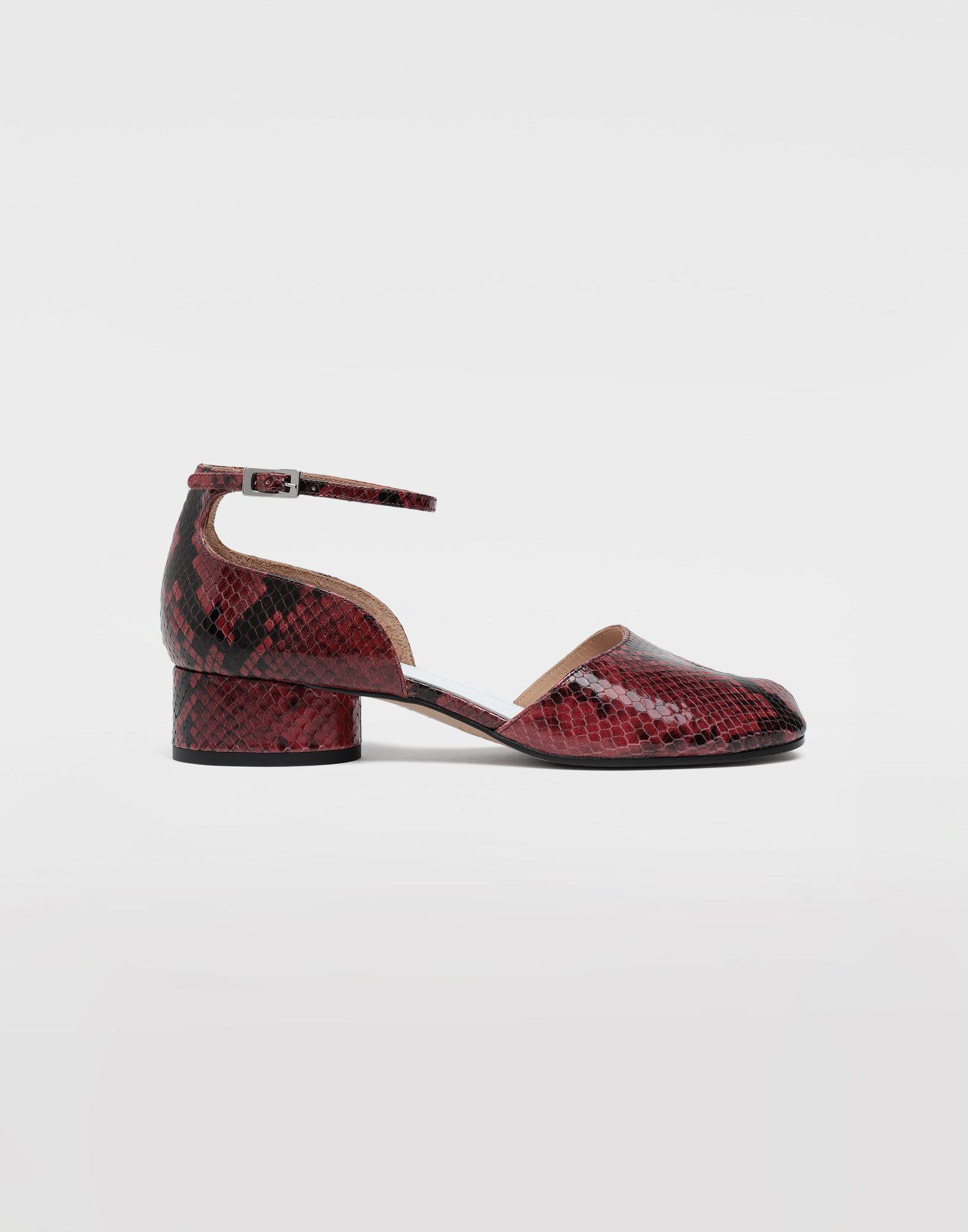 MAISON MARGIELA Tabi python-effect ankle strap pumps Tabi ballet flats Woman f