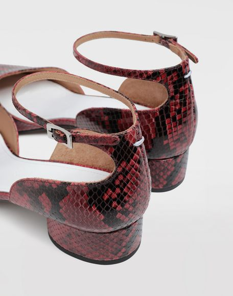 MAISON MARGIELA Tabi python-effect ankle strap pumps Tabi ballet flats Woman b