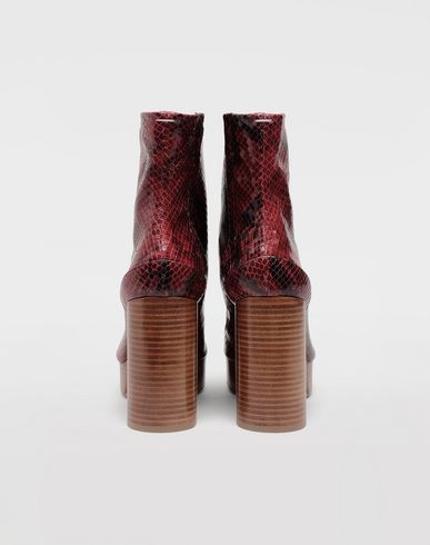 SHOES Tabi python-effect platform boots Maroon