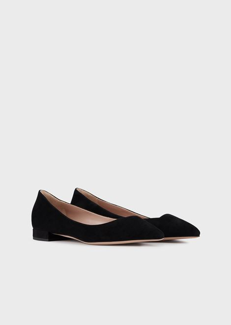Pointed toe ballet flats in suede with asymmetric top line