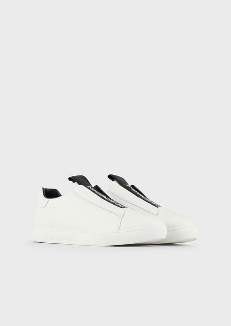 Leather slip-ons with logo strip