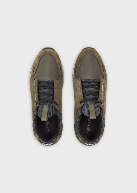 Suede and technical fabric sneakers with branded sole