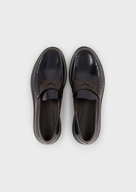 Moccasins in aged-effect leather with high sole