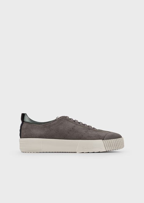 Suede sneakers with logo on the heel