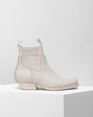 SHOES Double shaft leather boots Ivory