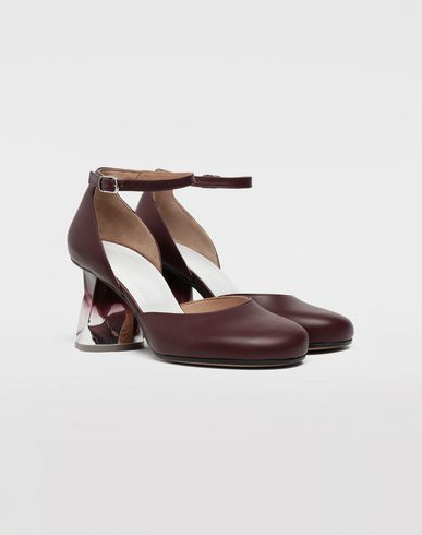 SHOES Trompe-l'œil ankle strap pumps Deep purple