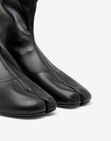 SHOES Tabi faux leather sock boots Black