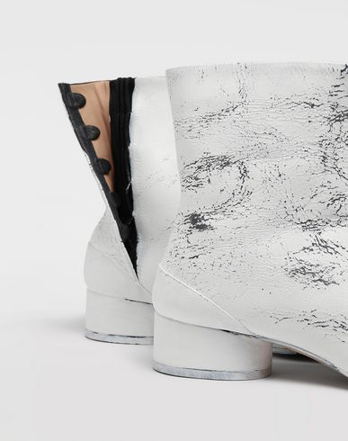 SHOES Tabi paint leather boots White
