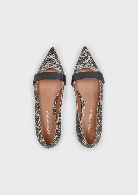 Pointed-toe ballerinas in python-print leather