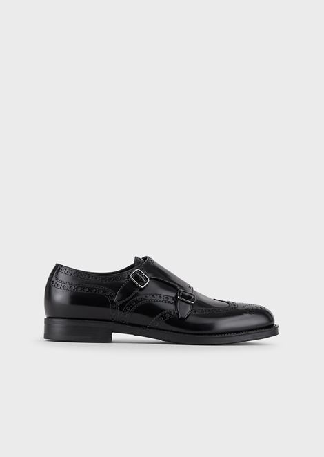 Brushed leather Monkstrap shoes with perforations