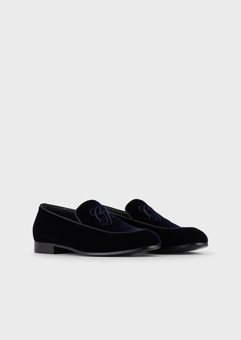 6701ae39c2e75 Velvet moccasins with embroidered GA logo and contrasting piping ...