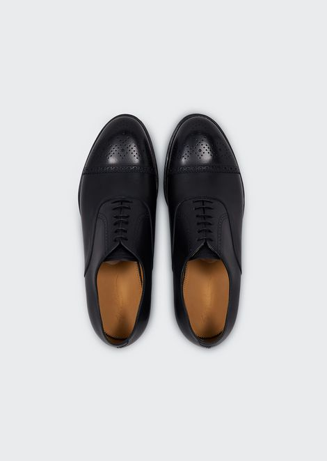 Brushed leather Oxford brogues with perforations