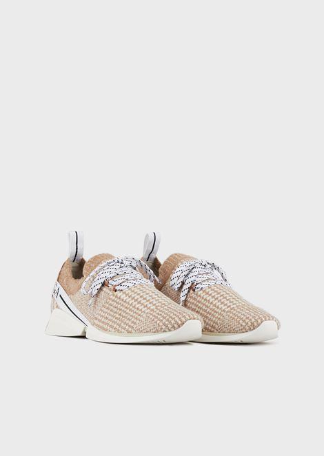 Lace up sneakers in tessuto jacquard con dettagli in pelle