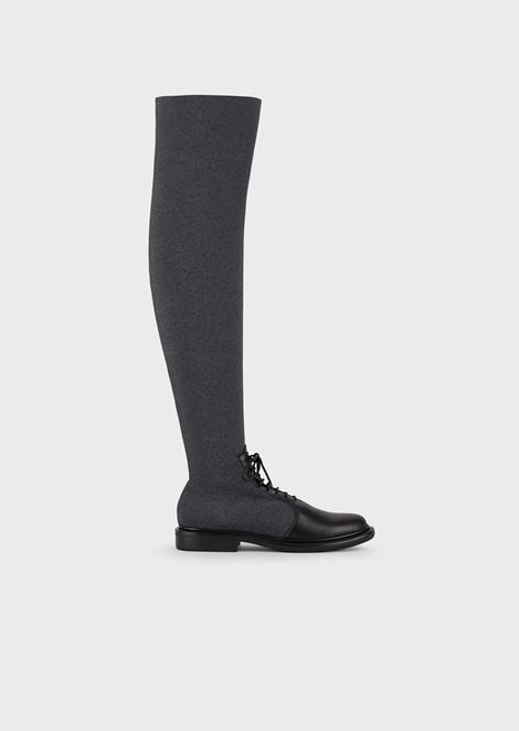 Thigh-high boots with elasticated leg