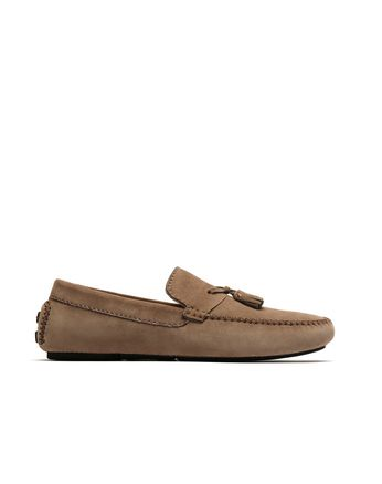 Brown Tassel Driver Loafers
