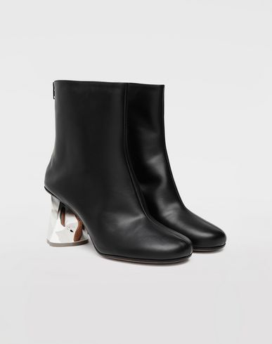 SHOES Trompe-l'œil calfskin boots Black