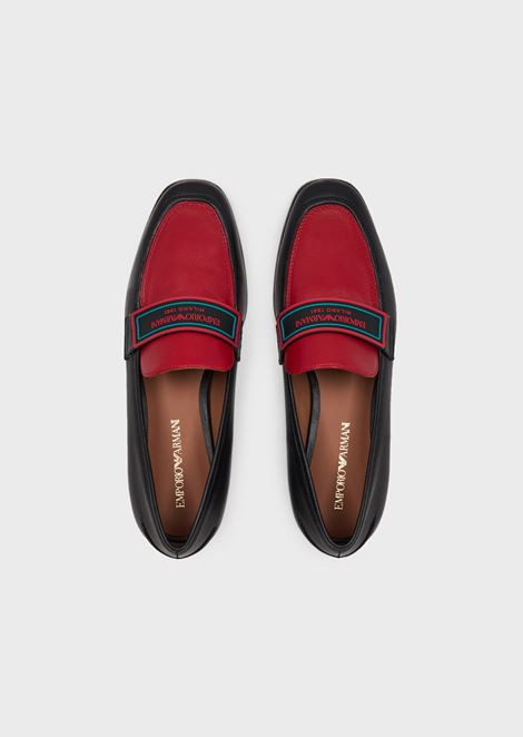 Cherie nappa leather moccasins with logo inserts