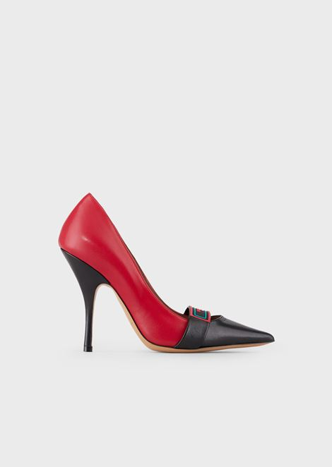 Cherie nappa leather court shoes with logo