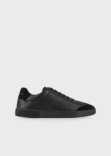 Leather sneakers with velvet details