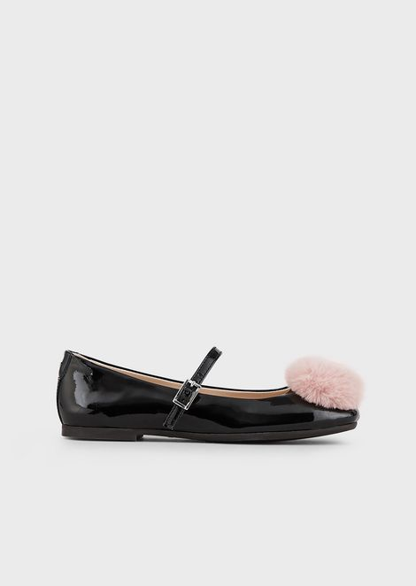 Patent leather Mary Janes with pompom