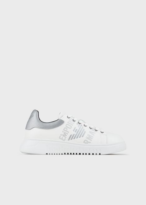 Leather sneakers with logo and metal detail