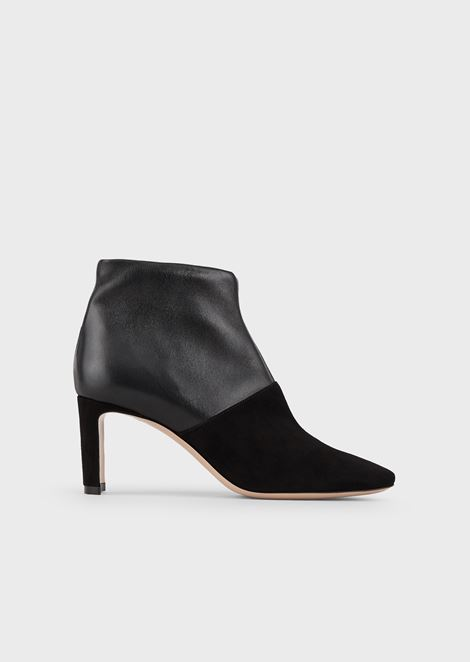Ankle boots in leather and suede with a half moon heel
