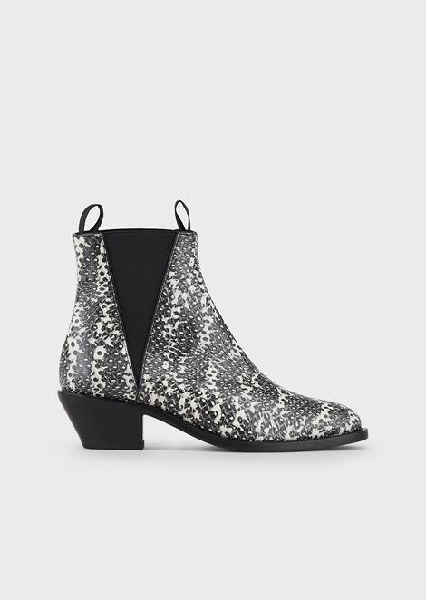 德州风蟒蛇纹印花皮革短靴