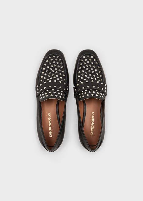 Full-grain leather moccasins with studs
