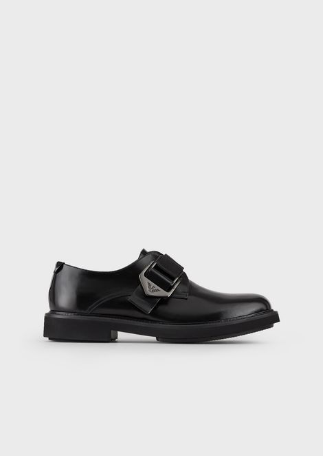 Monk Straps in brushed leather with an adjustable buckle