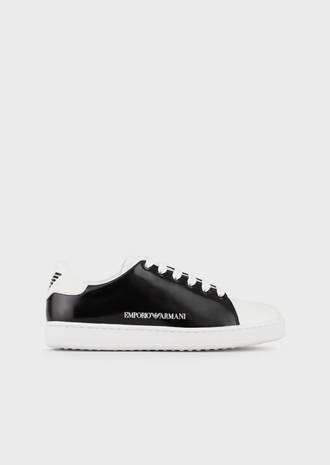 Mirrored-leather sneakers with side logo