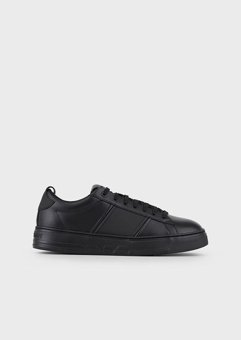 Leather sneakers with inserts