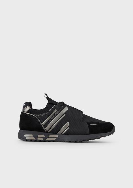 Sneakers zigrinate con dettagli suede