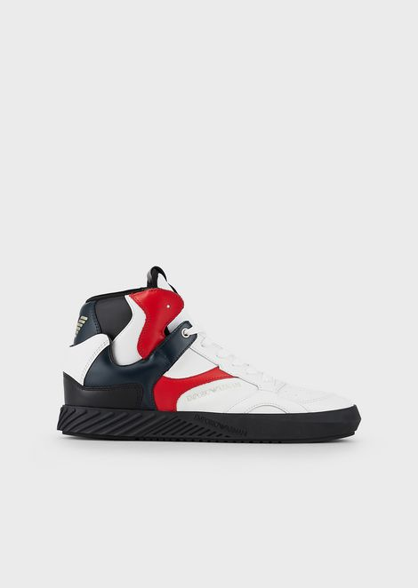 High-top sneakers with contrasting inserts