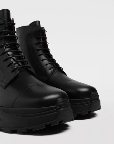 SHOES Leather combat boots Black