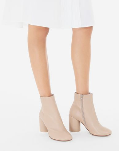 SHOES 6 heel leather boots Beige