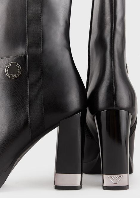 Stiefeletten aus Leder mit eckigem Absatz