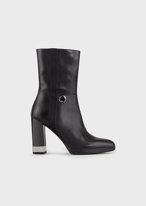 Leather booties with square heel