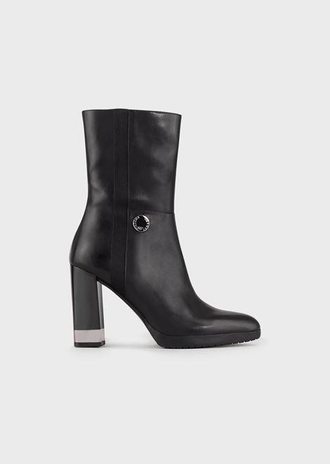 方形鞋跟皮质短靴